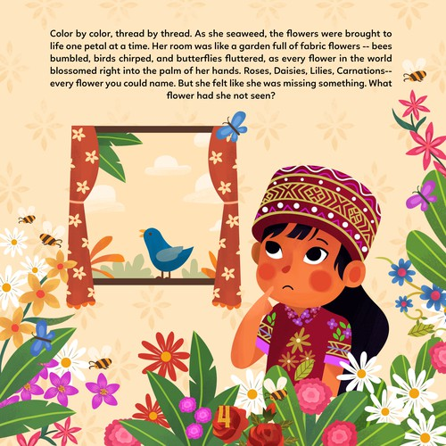 Children's book artwork with the title 'Xi Lan Ka Pu Page 4 '