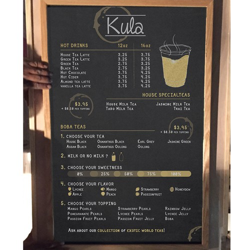 Chalkboard design with the title 'Concept menu for a tea shop'