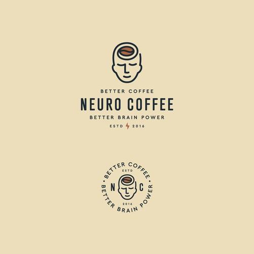Brain logo with the title 'Neuro Coffee'