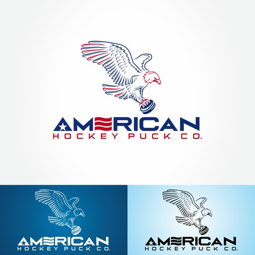 American eagle logo with the title 'American Hockey Puck Co.'
