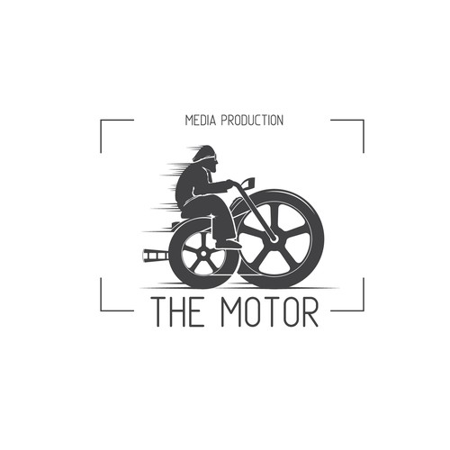 Motorbike logo with the title 'hand-drawn logo for Motor media production company'