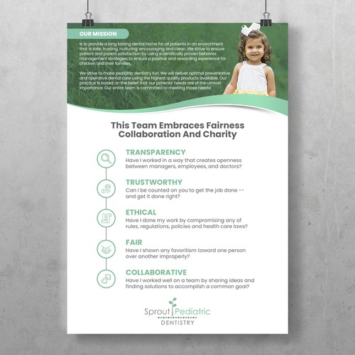 Mission design with the title 'Sprout Pediatric Dentistry'