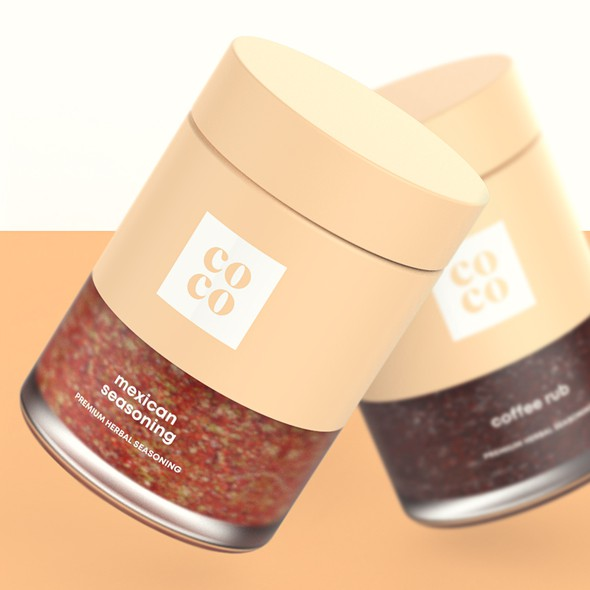 Spice packaging with the title 'Seasoning Spice Blend Packaging Design'