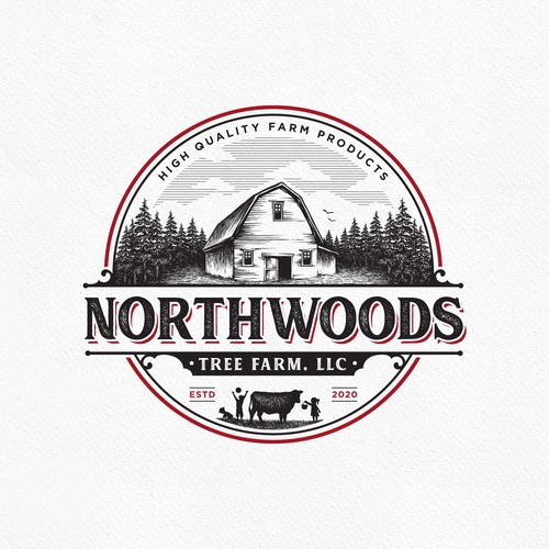 Barn logo with the title 'Northwoods'