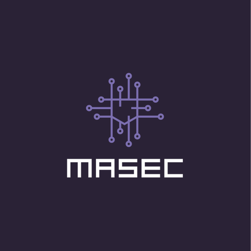 Purple and red logo with the title 'Angular logo for cybersecurity project: MASEC'
