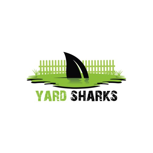 Lawn care logo with the title 'Yard Sharks'