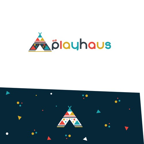 Scandinavian design with the title 'Colorful yet simple geometrical logo for the playcentre for children in Scandinavian style.'