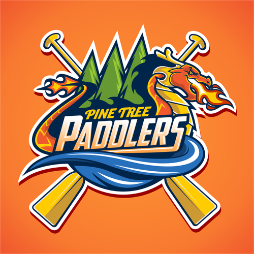 Flame logo with the title 'Pine Tree Paddlers'