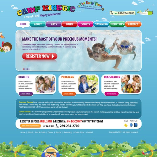 Friend design with the title 'Website Design for EY Summer Camp & Party Playground'