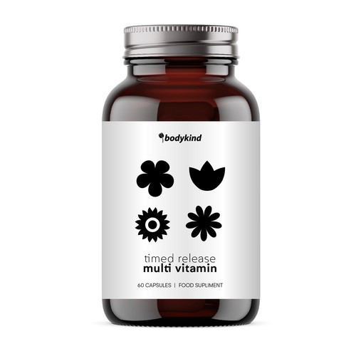 Contemporary label with the title 'Vitamins bottle'