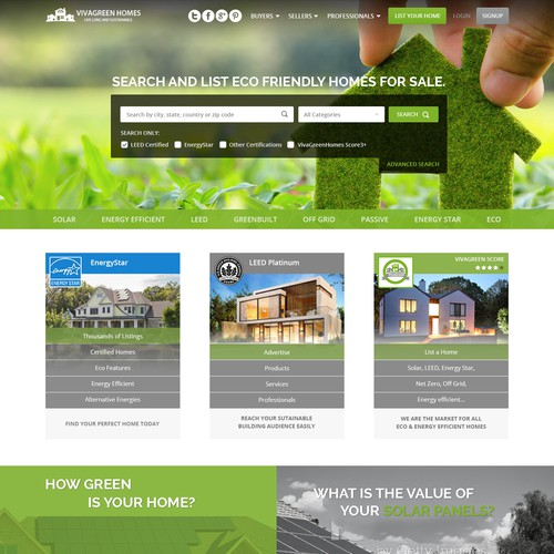 Sales website with the title 'Viva Green Homes'