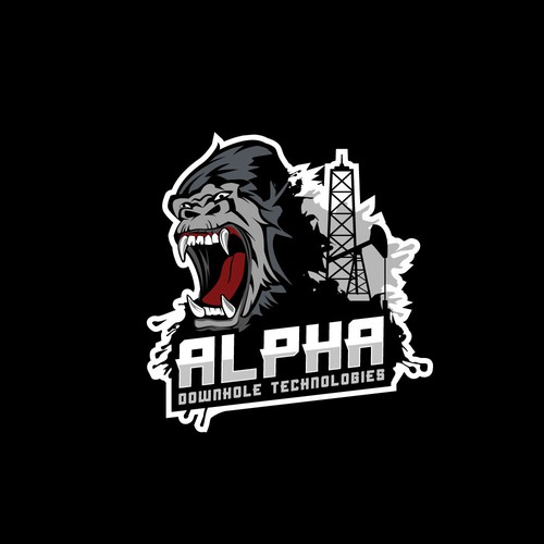 Gorilla design with the title 'Logo for ALPHA Downhole Technologies'