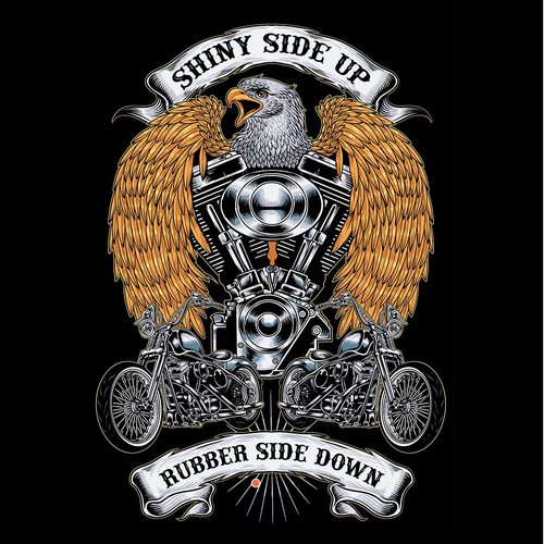 Motorcycle t-shirt with the title 'shiny side up, rubber side down'