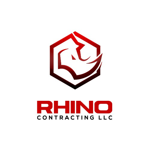 Octagonal logo with the title 'Bold Rhino Logo for Construction Company'