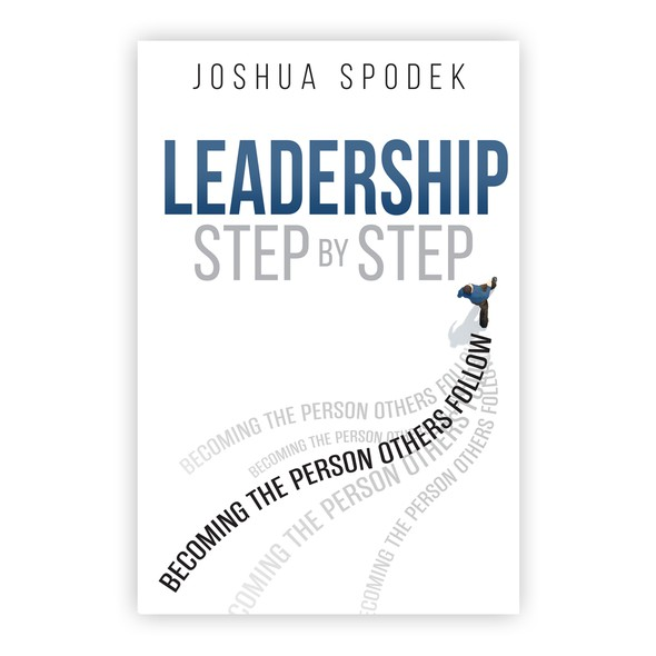 Gray book cover with the title 'Cover design about leadership'