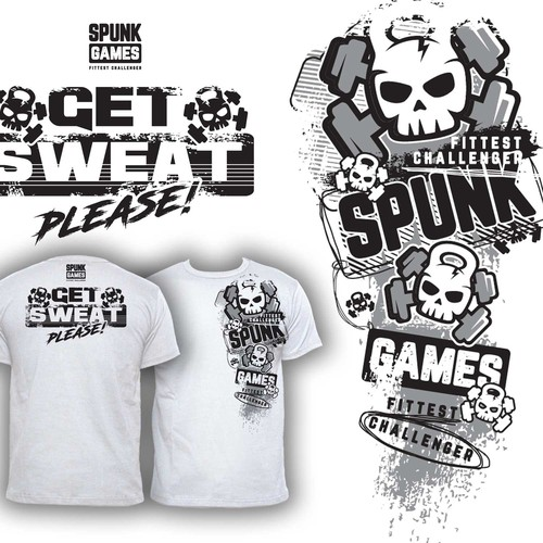 Fitness t-shirt with the title 'SPUNK GAMES'