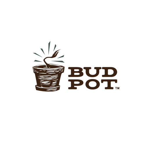 Hand-drawn logo with the title 'Logo design for BudPot'