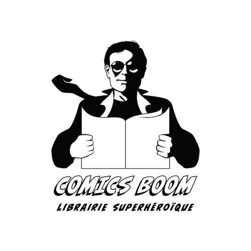 Superhero brand with the title 'Heroic Logo for Comic Book Store'