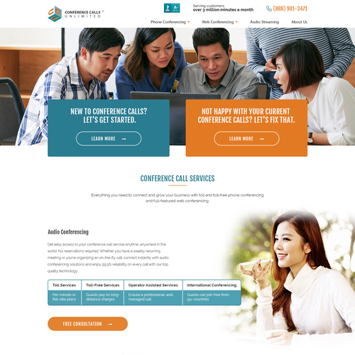 Communication website with the title 'conference calling services'