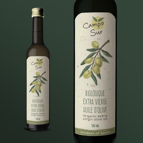 Olive oil label with the title 'Label for organic olive oil'