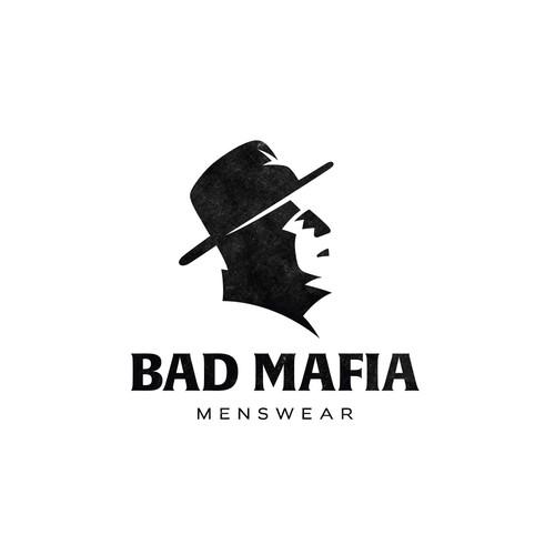 Man logo with the title 'Minimalist logo for Bad Mafia.'
