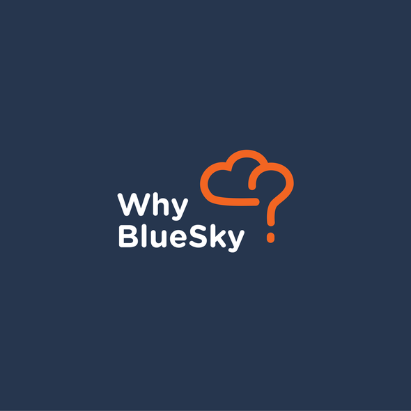 Question mark logo with the title 'Logo consept for WhyBlueSky - lesson plans, which answer children's questions and offer them to primary and secondary school teachers worldwide.'