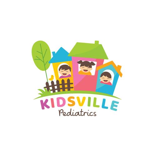 Pediatric logo with the title 'Kidsville Pediatrics logo'