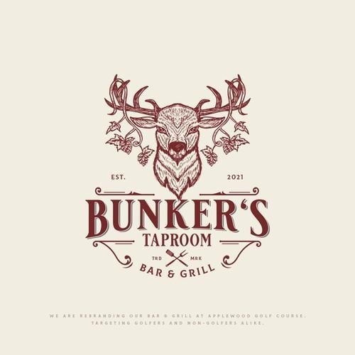 Elk design with the title 'Bunker's Taproom'