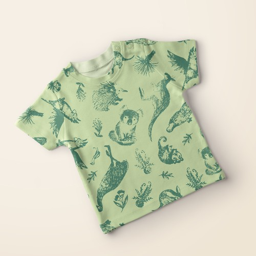 Seamless design with the title 'Unisex baby pattern with australian animals'