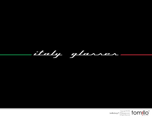 White and red design with the title 'Create a great logo for Italy Glasses'