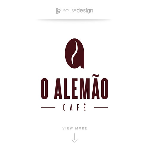 Coffee bean logo with the title 'O Alemão Café - Logo Concept'