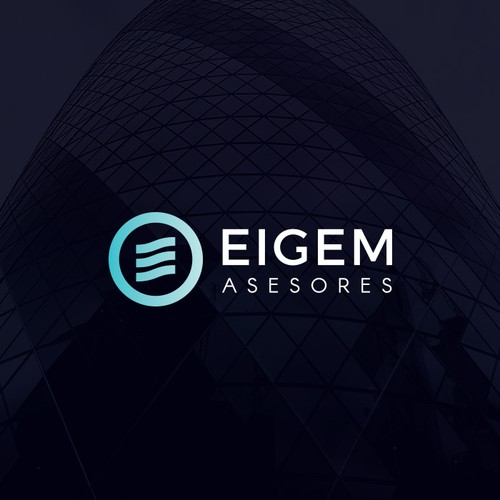 Water brand with the title 'Eigem Asesores - Logo proposal for tax advisory from Ibiza.'