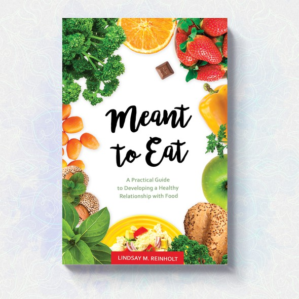 Bright book cover with the title 'A cover for a book about healthy eating'