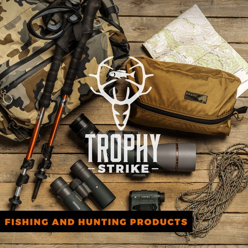 Outfitters logo with the title 'Cool, New Hunting and Fishing brand needs an exciting and engaging logo! Please help!'