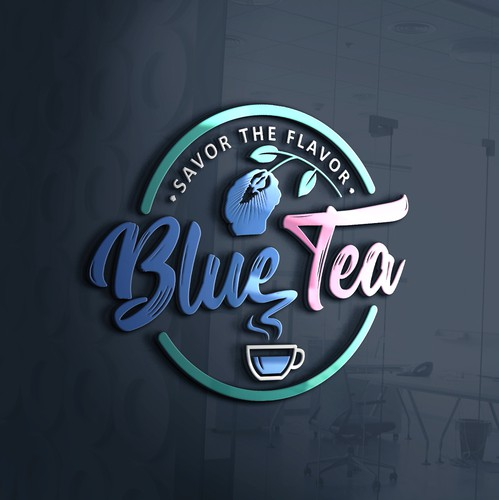 Beverage logo with the title 'Typography logo for Blue tea manufacturer.'