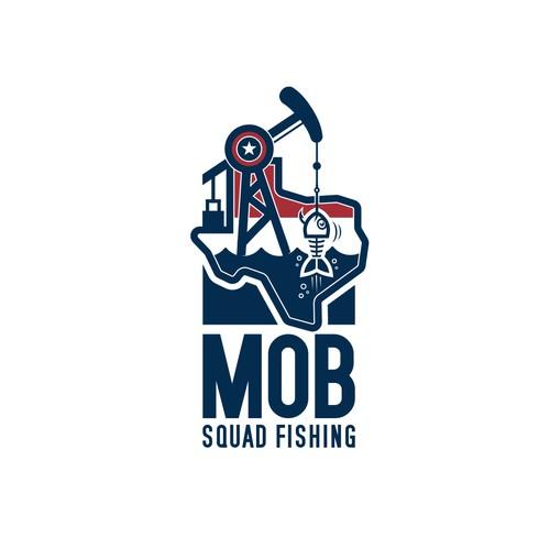 Fishing hook design with the title 'Fishing Team Needs Modern Rebranding Logo!'