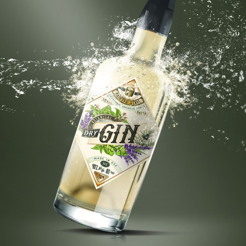 Alcohol design with the title 'Gin label'