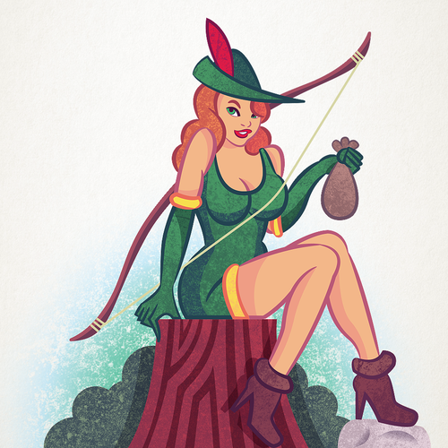 Vintage illustration with the title 'Robin Hood'