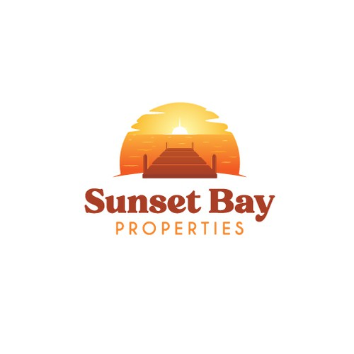 Bay design with the title 'Sunset Bay Properties logo design concept'