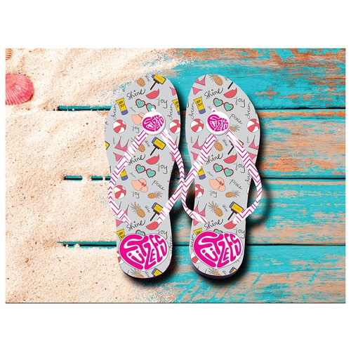 Flip flop design with the title 'Allover beach icons pattern print'