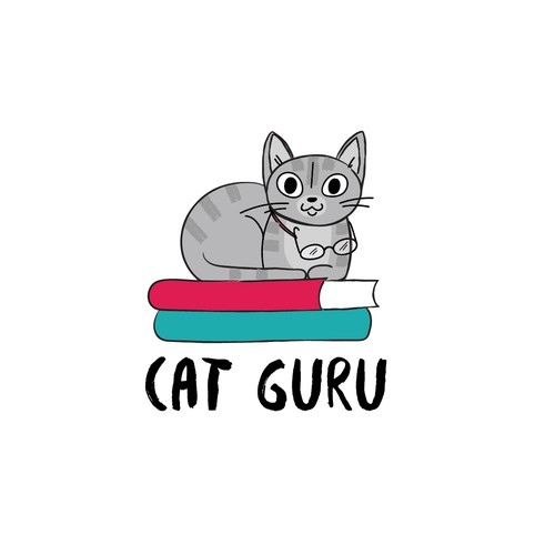 Whimsical logo with the title 'Smart cat being smart'