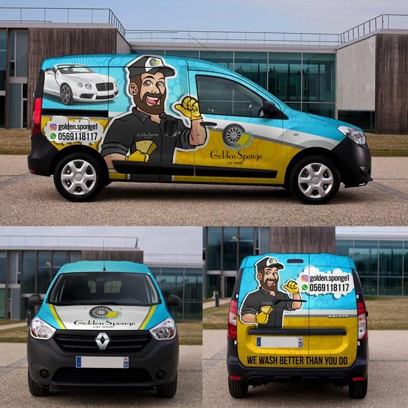 Cleaning design with the title 'GOLDEN SPONGE van wrap design'