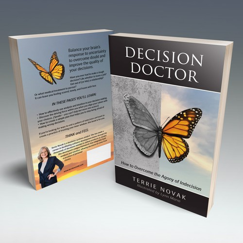 Dramatic design with the title 'Book cover winner for a book about making decisions'