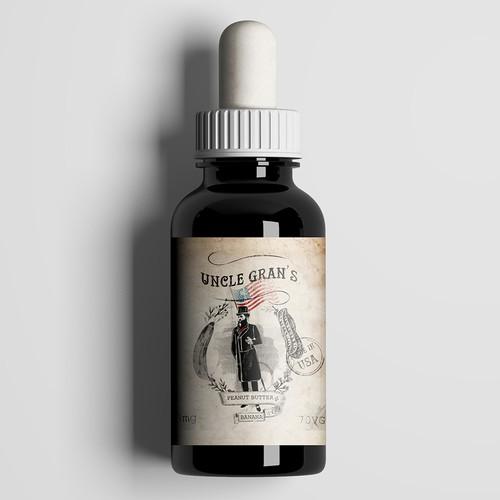 Americana design with the title 'E liquid label for Uncle Gran's'