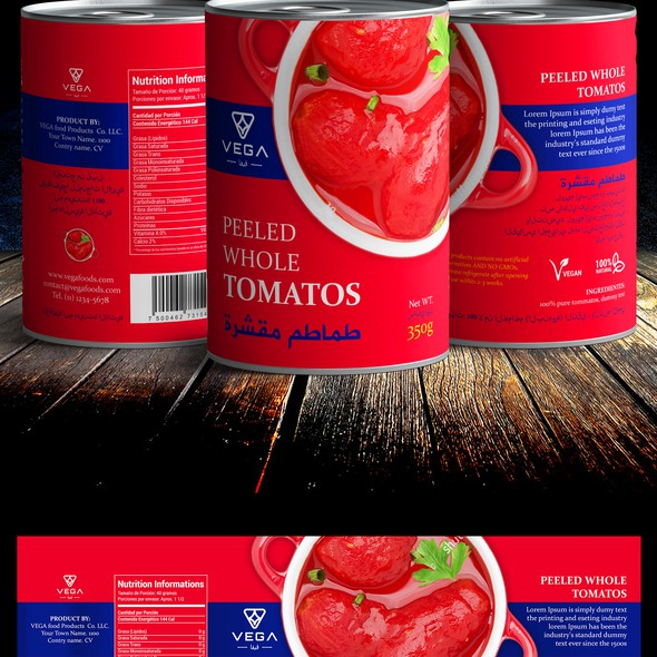 Modern retro design with the title 'Label design for canned food'