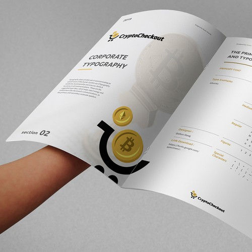 Cryptocurrency design with the title 'Crypto Currency Brandguide'