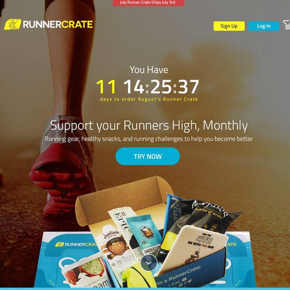 White and yellow design with the title 'Design Concept for RunnerCrate'
