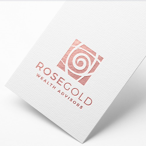 Stylized design with the title 'RoseGold Wealth Advisors - Logo design'