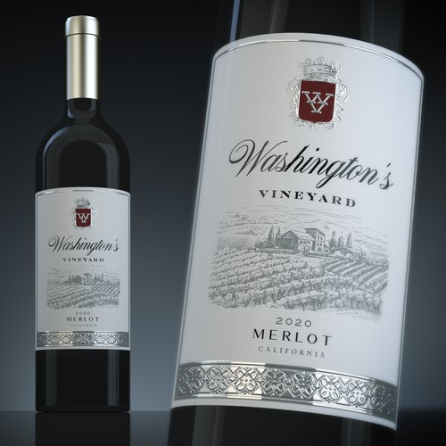 Classy packaging with the title 'Wine Label - Washington's Vineyards'