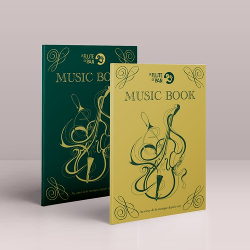Violin design with the title 'Music Book - La Flute de Pan'